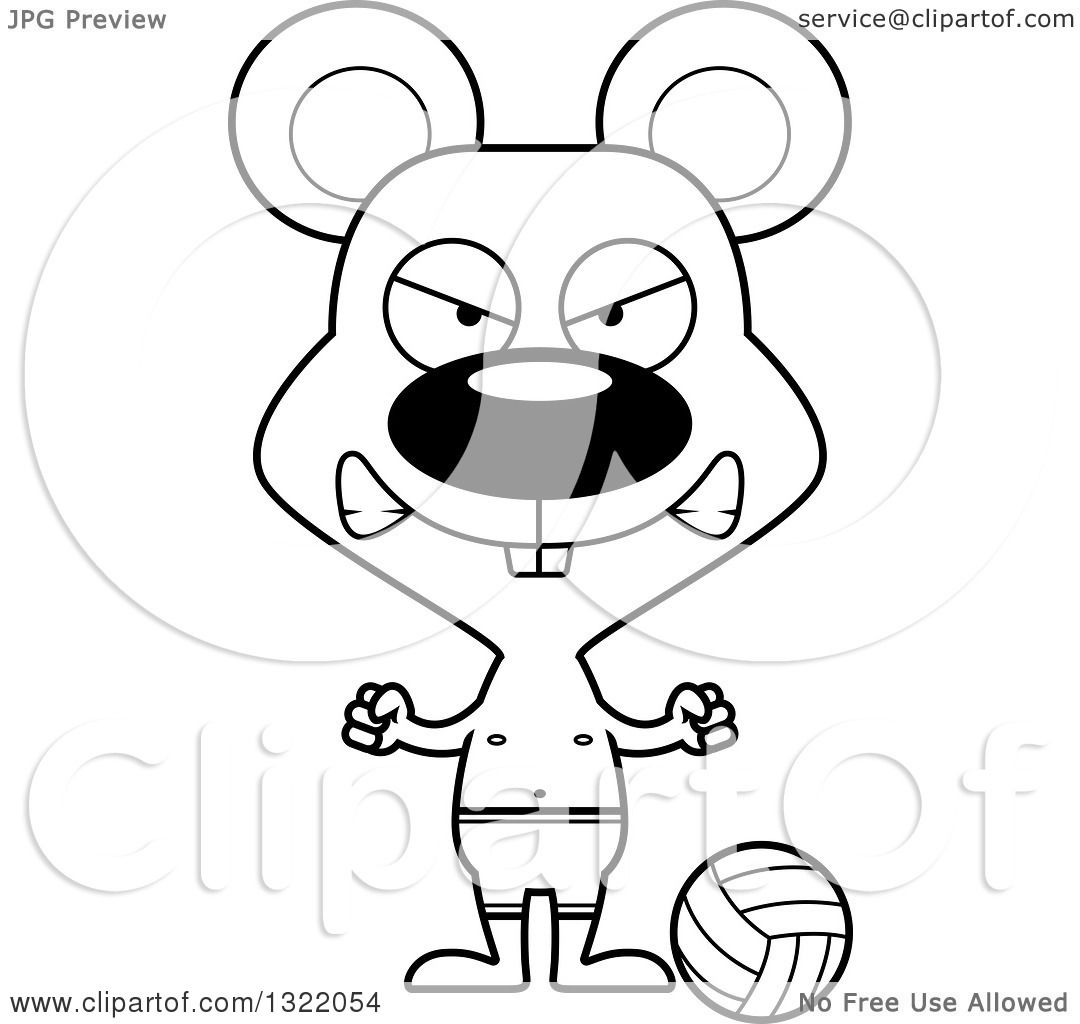Lineart Clipart Of A Cartoon Black And White Mad Mouse