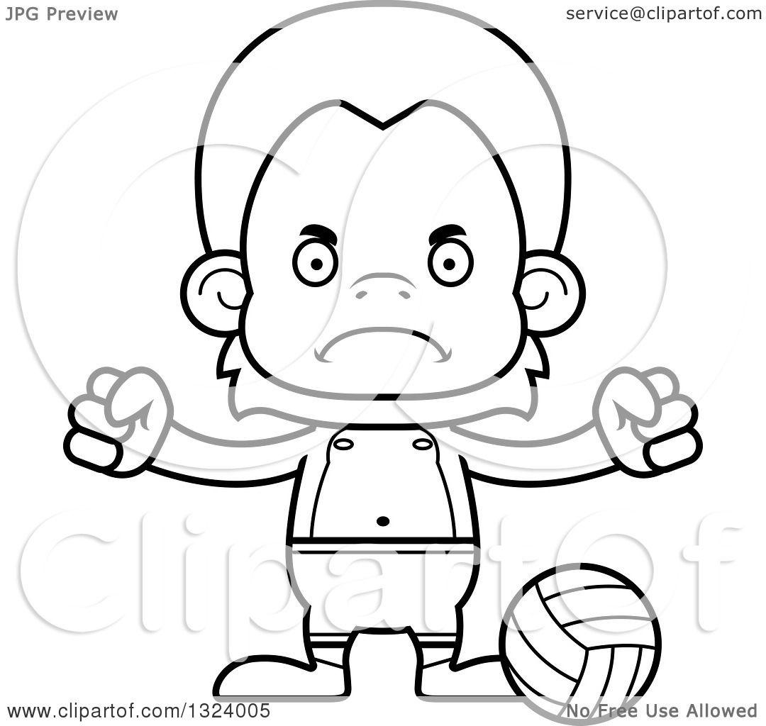 Lineart Clipart Of A Cartoon Black And White Mad Orangutan