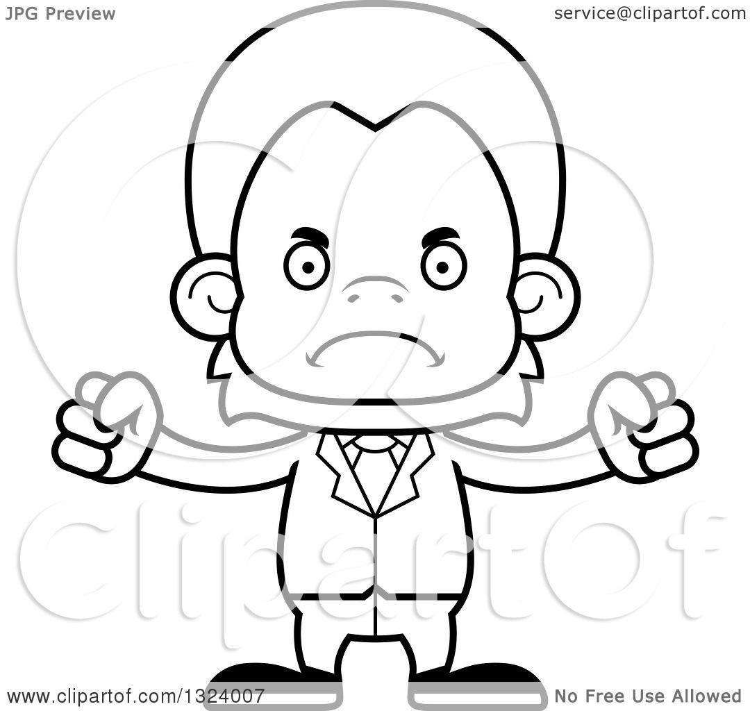 Lineart Clipart Of A Cartoon Black And White Mad Orangutan Monkey Business Man