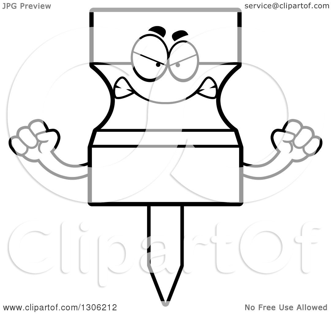 Lineart Clipart Of A Cartoon Black And White Mad Push Pin
