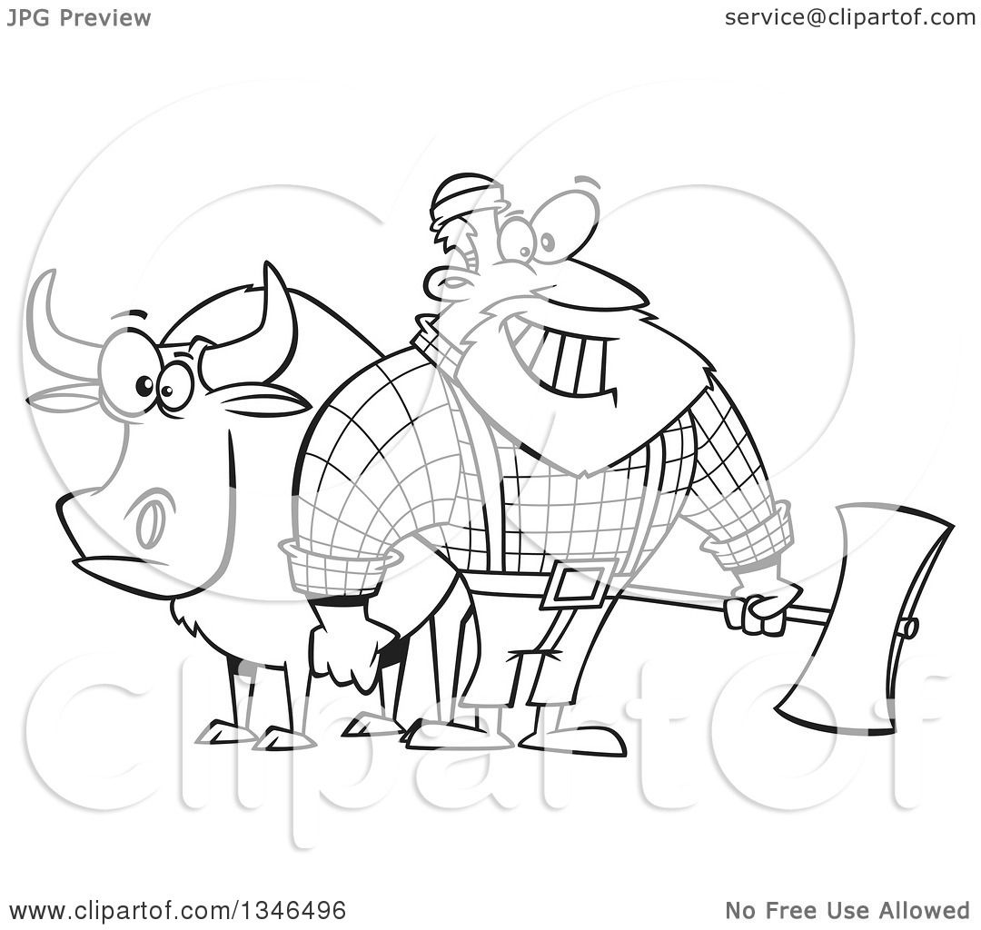 Paul Bunyan And The Blue Ox Coloring Sheets