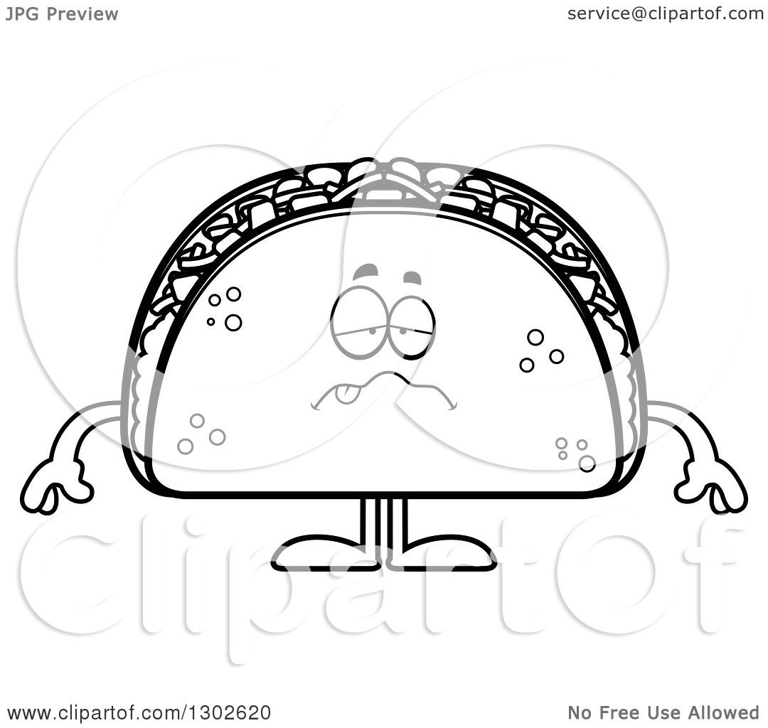 Lineart Clipart Of A Cartoon Black And White Sick Taco