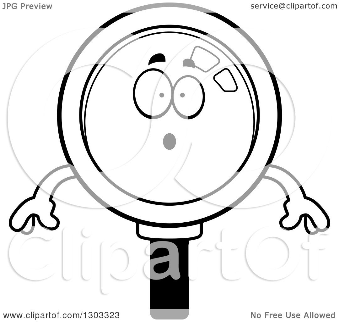 Lineart Clipart Of A Cartoon Black And White Surprised