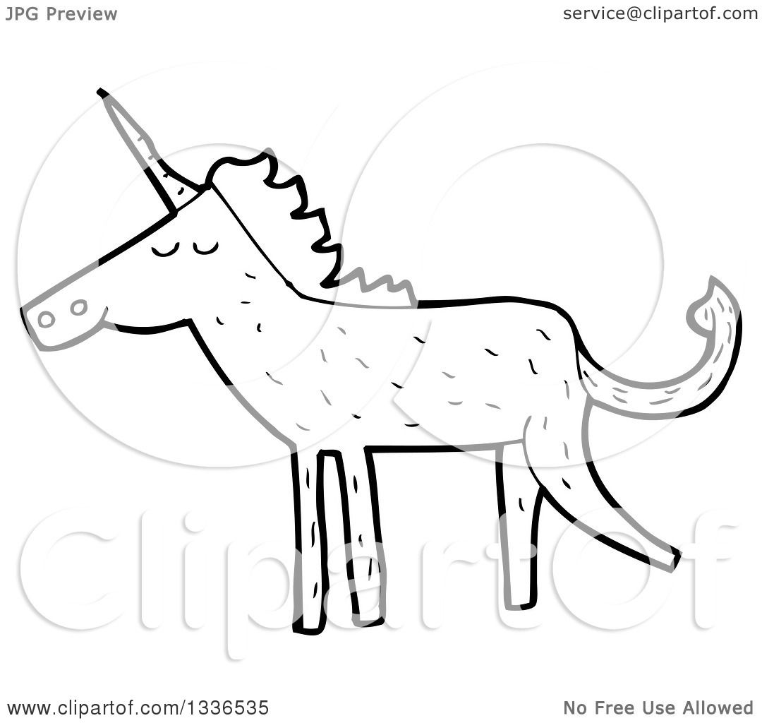 Lineart Clipart Of A Cartoon Black And White Unicorn