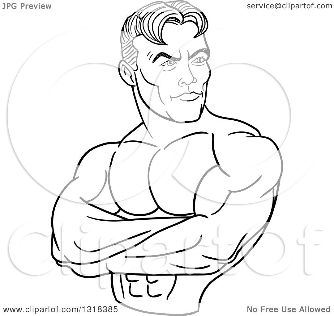 Lineart Clipart Of A Cartoon Black And White White Male