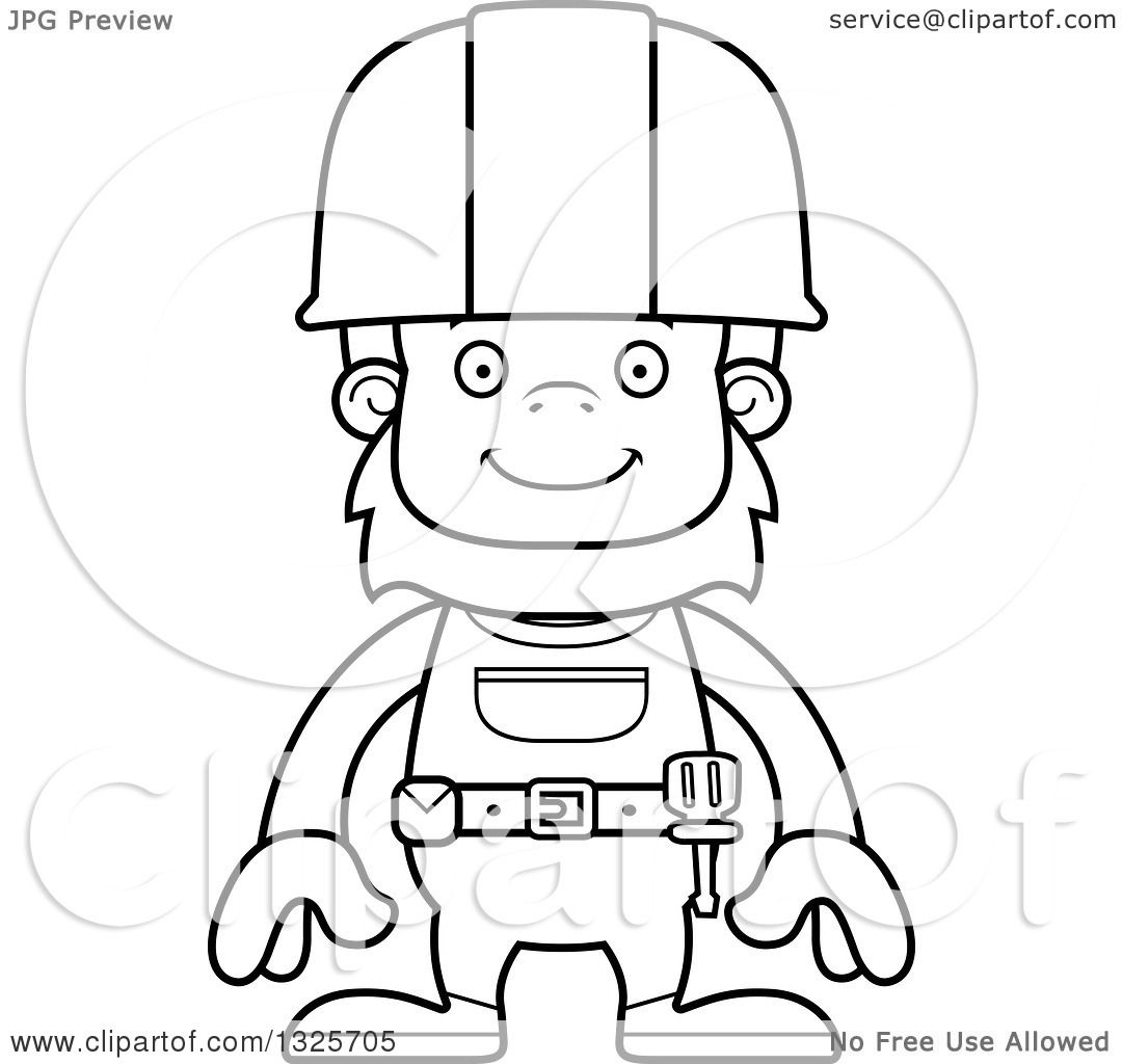 Lineart Clipart Of A Cartoon Blcak And White Happy Bigfoot