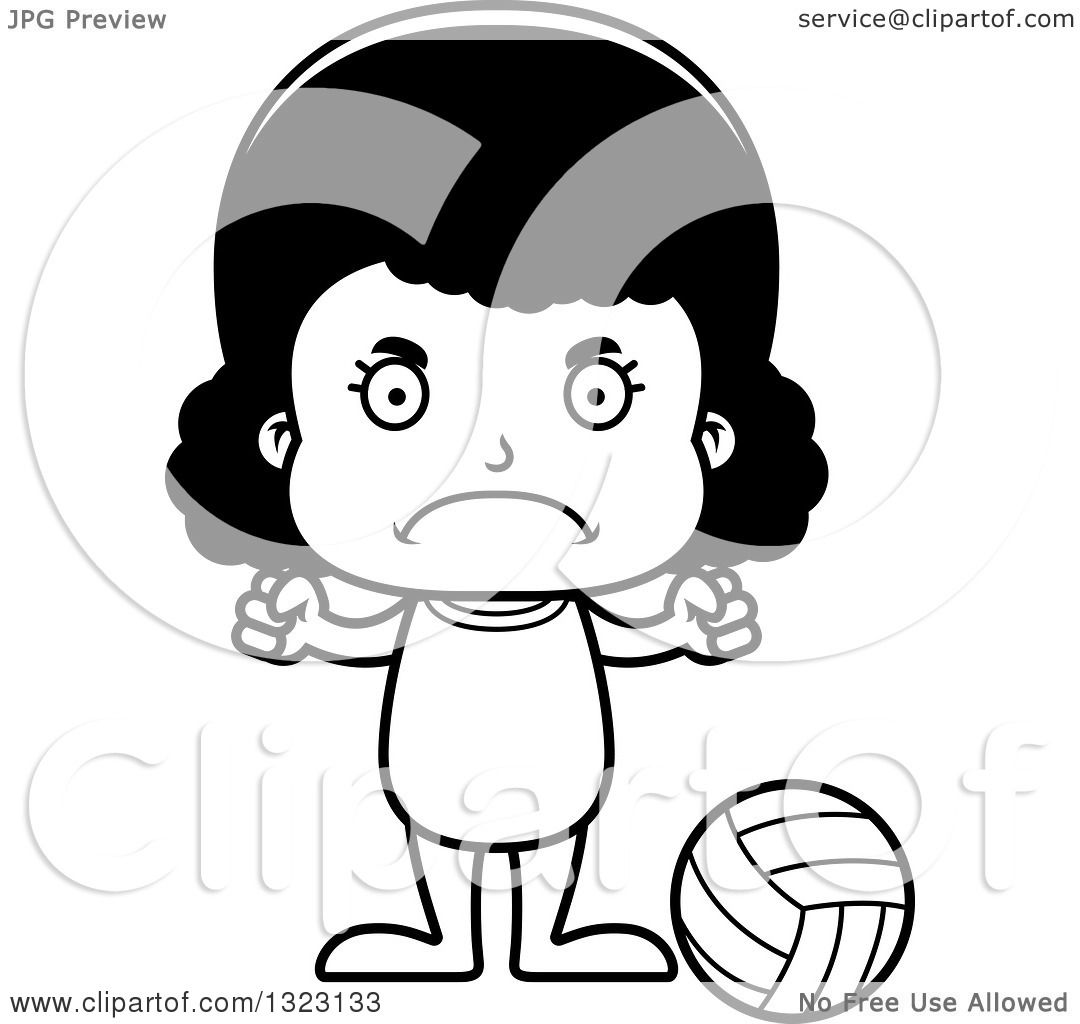 Lineart Clipart Of A Cartoon Mad Black Girl Beach