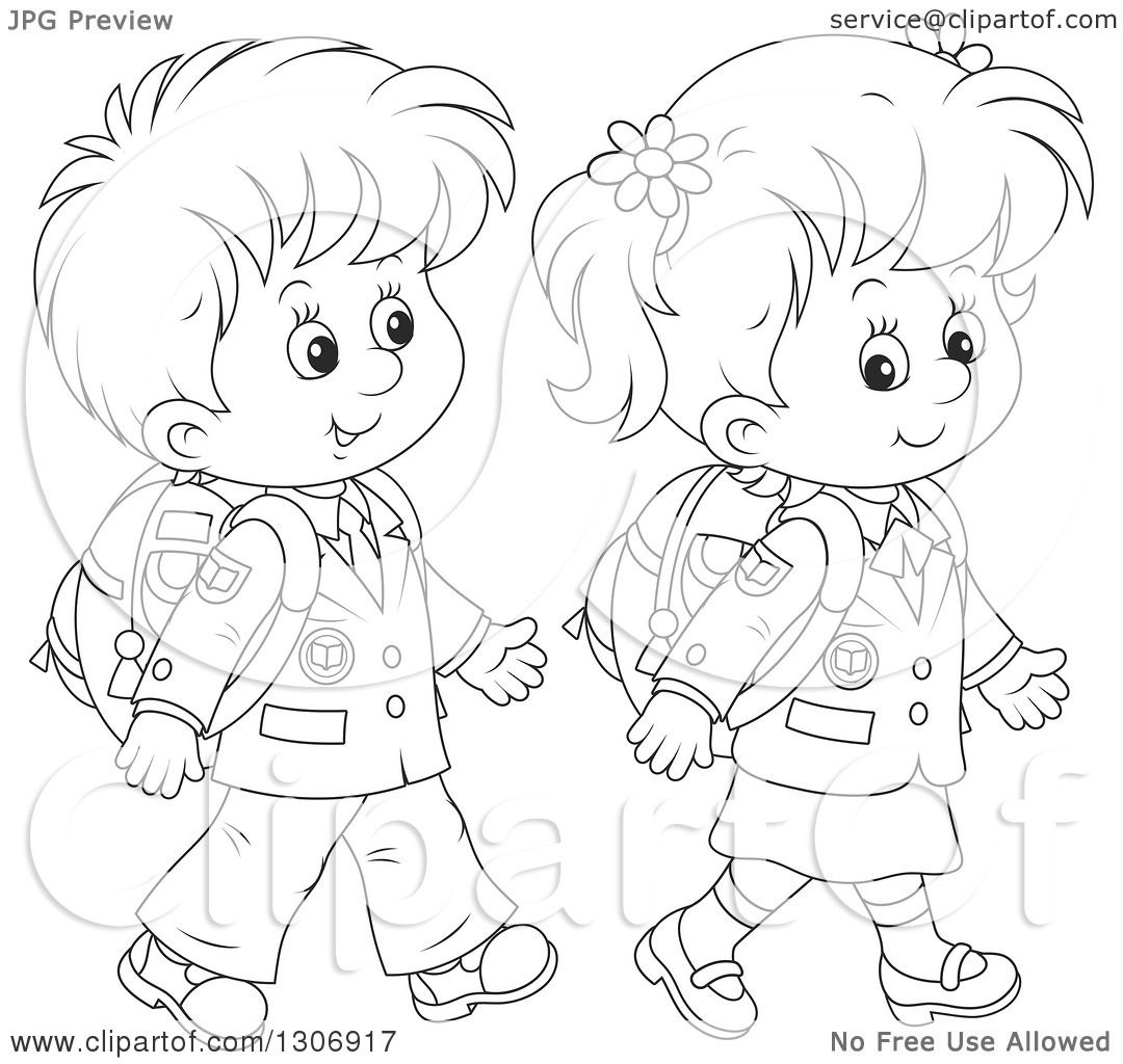 Lineart Clipart Of Cartoon Black And White Happy School Children Walking
