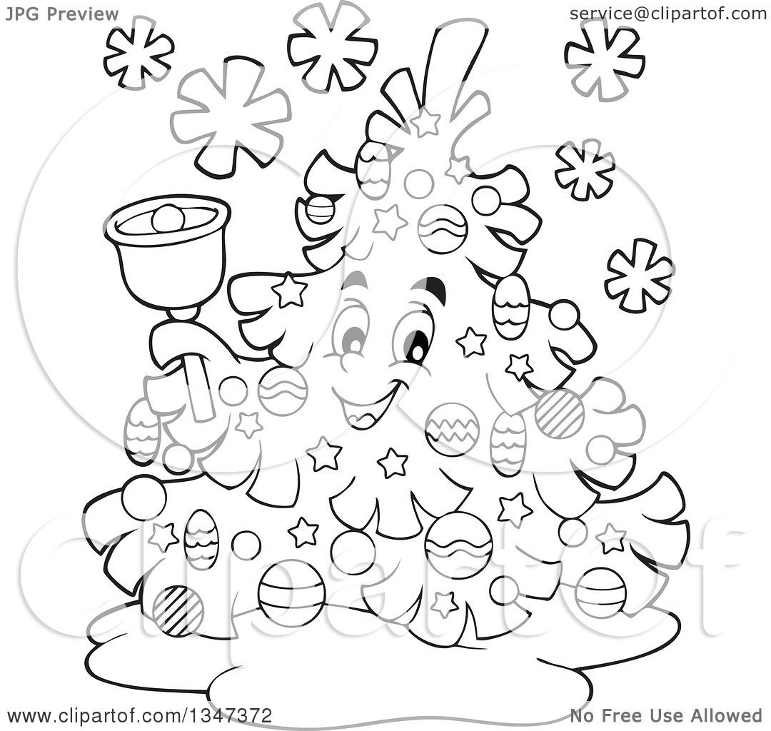 Outline Clipart Of A Cartoon Black And White Christmas