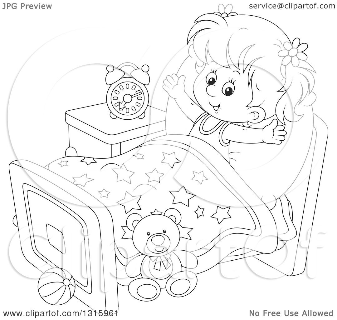 Outline Clipart Of A Cartoon Black And White Girl Stretching In Her Bed After Waking Up