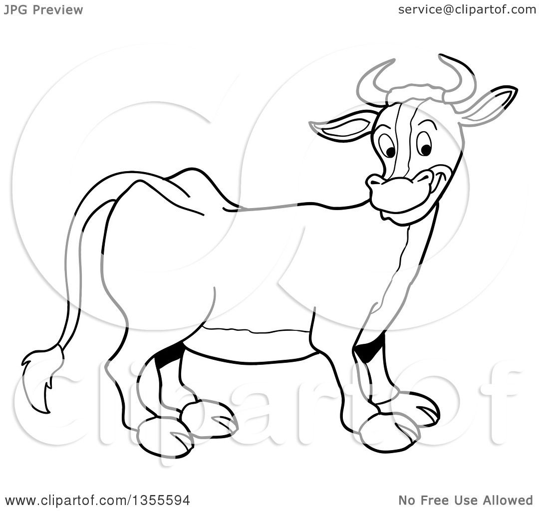Outline Clipart Of A Cartoon Black And White Happy Cow