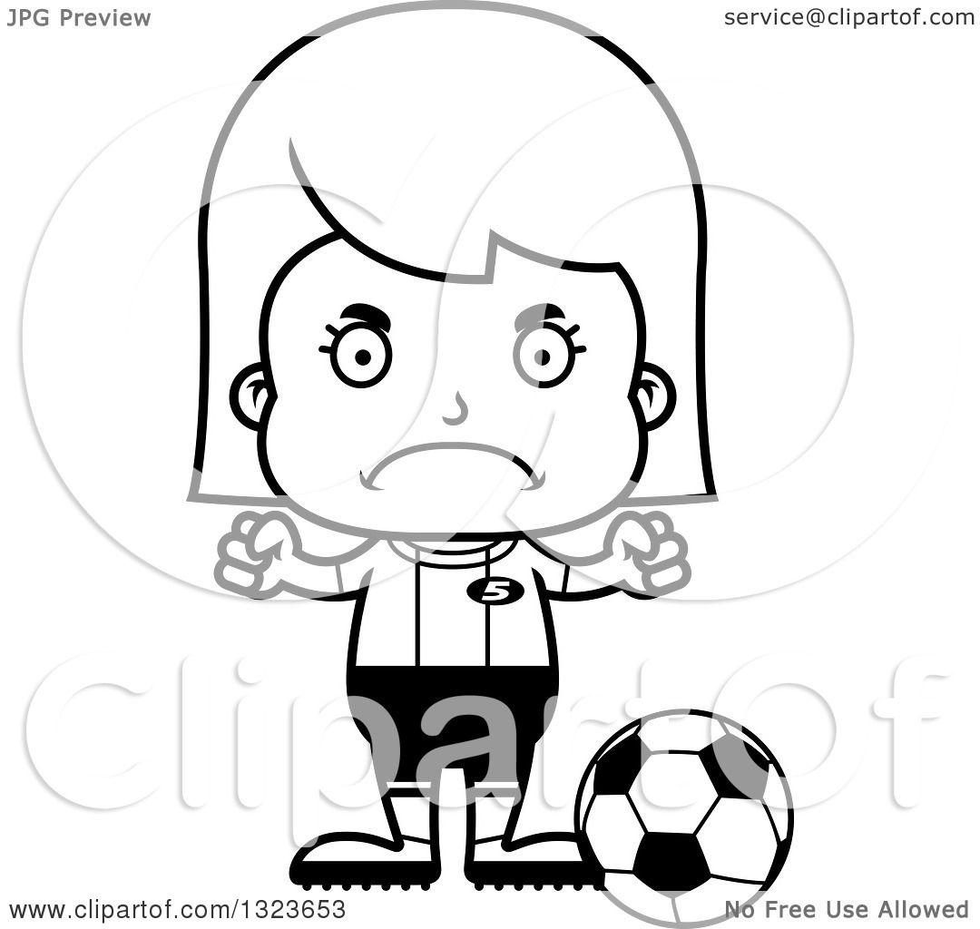 Outline Clipart Of A Cartoon Black And White Mad Girl