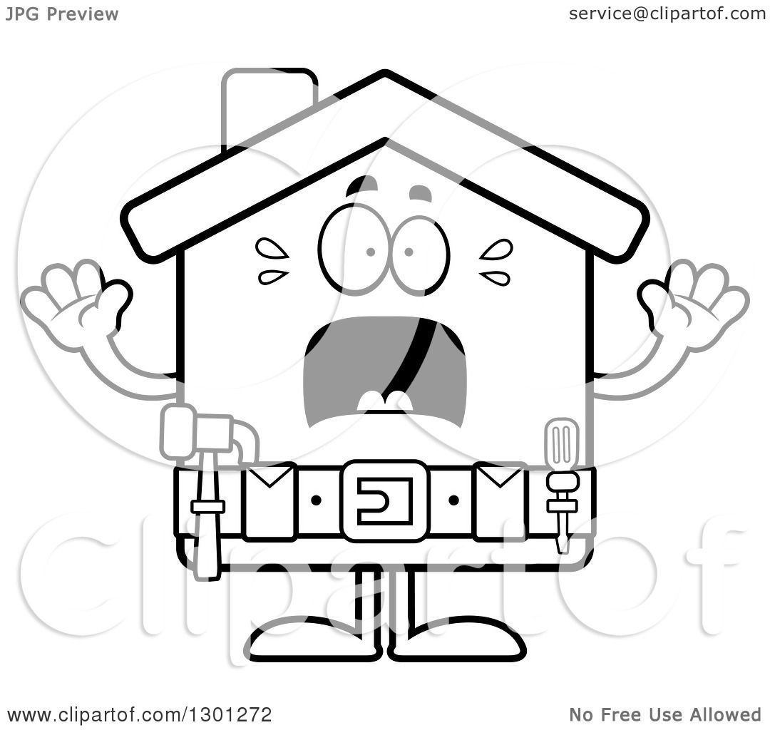 Outline Clipart Of A Cartoon Black And White Scared