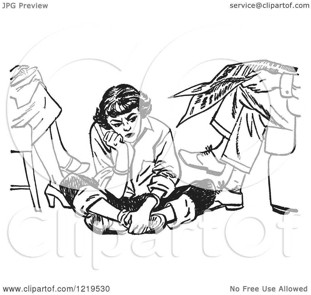 Retro Clipart Of A Black And White Retro Teenage Girl