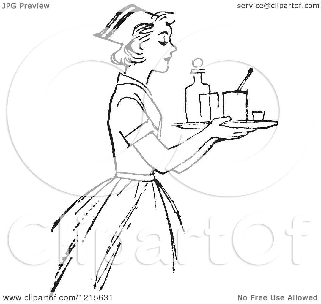 Retro Vector Clipart Of A Vintage Nurse Carrying A Tray