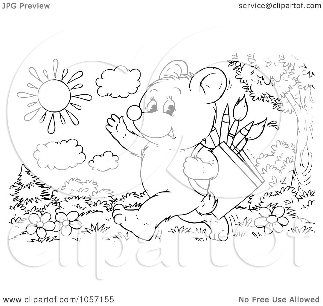 Royalty Free Clip Art Illustration Of A Coloring Page Outline Of A Bear Cub Walking To School By