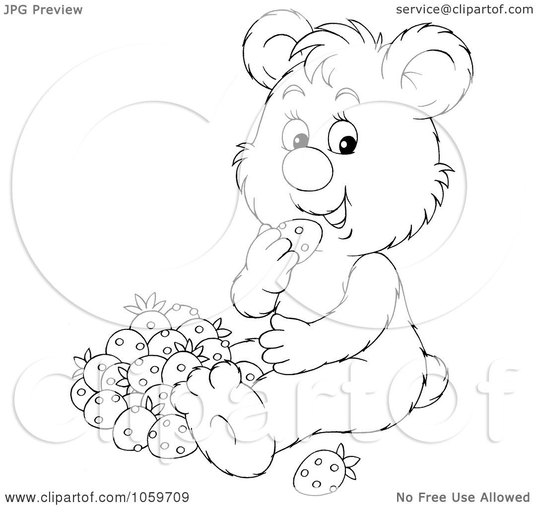Royalty Free Clip Art Illustration Of A Coloring Page Outline Of A Bear Eating Strawberries By