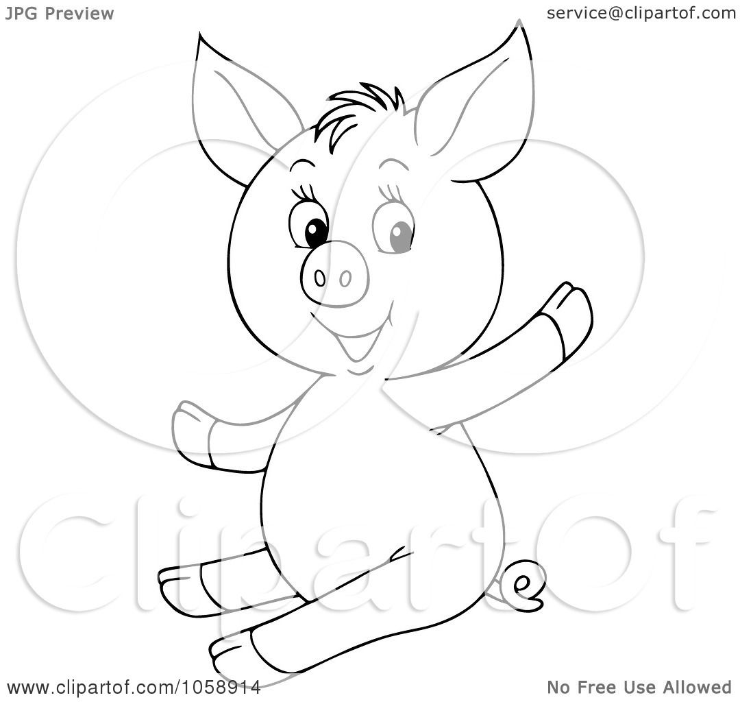 Royalty Free Clip Art Illustration Of An Outlined Waving