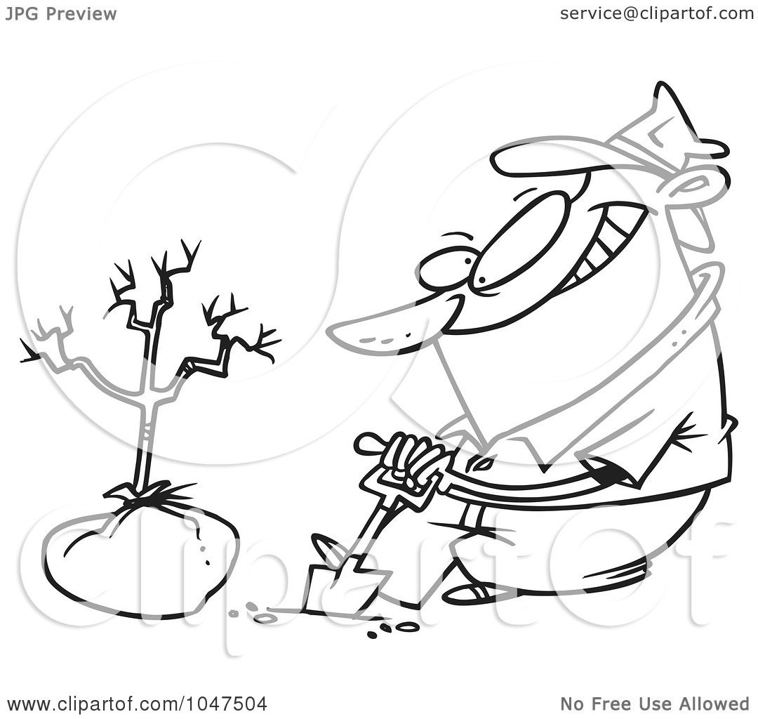 Planting Trees Clip Art Black And White