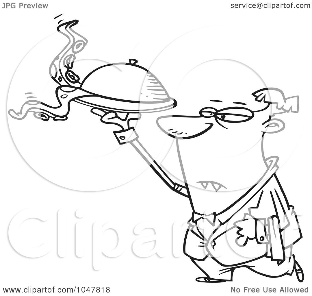 Royalty Free Rf Clip Art Illustration Of A Cartoon Black And White Outline Design Of A Vampire