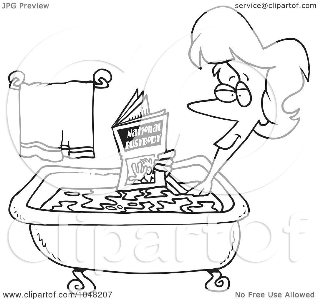 Royalty Free Rf Clip Art Illustration Of A Cartoon Black And White Outline Design Of A Woman