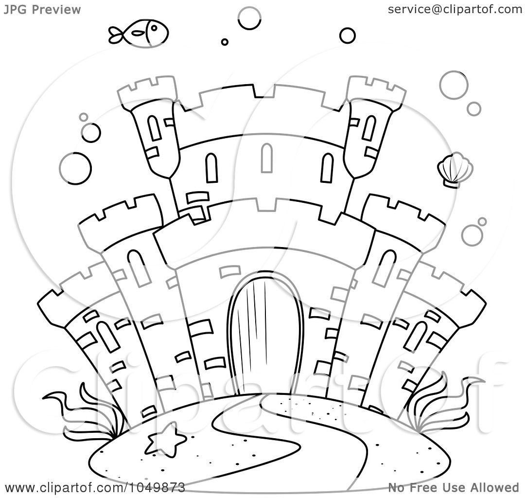 Royalty Free Rf Clip Art Illustration Of A Coloring Page Outline Of A Castle Underwater By Bnp