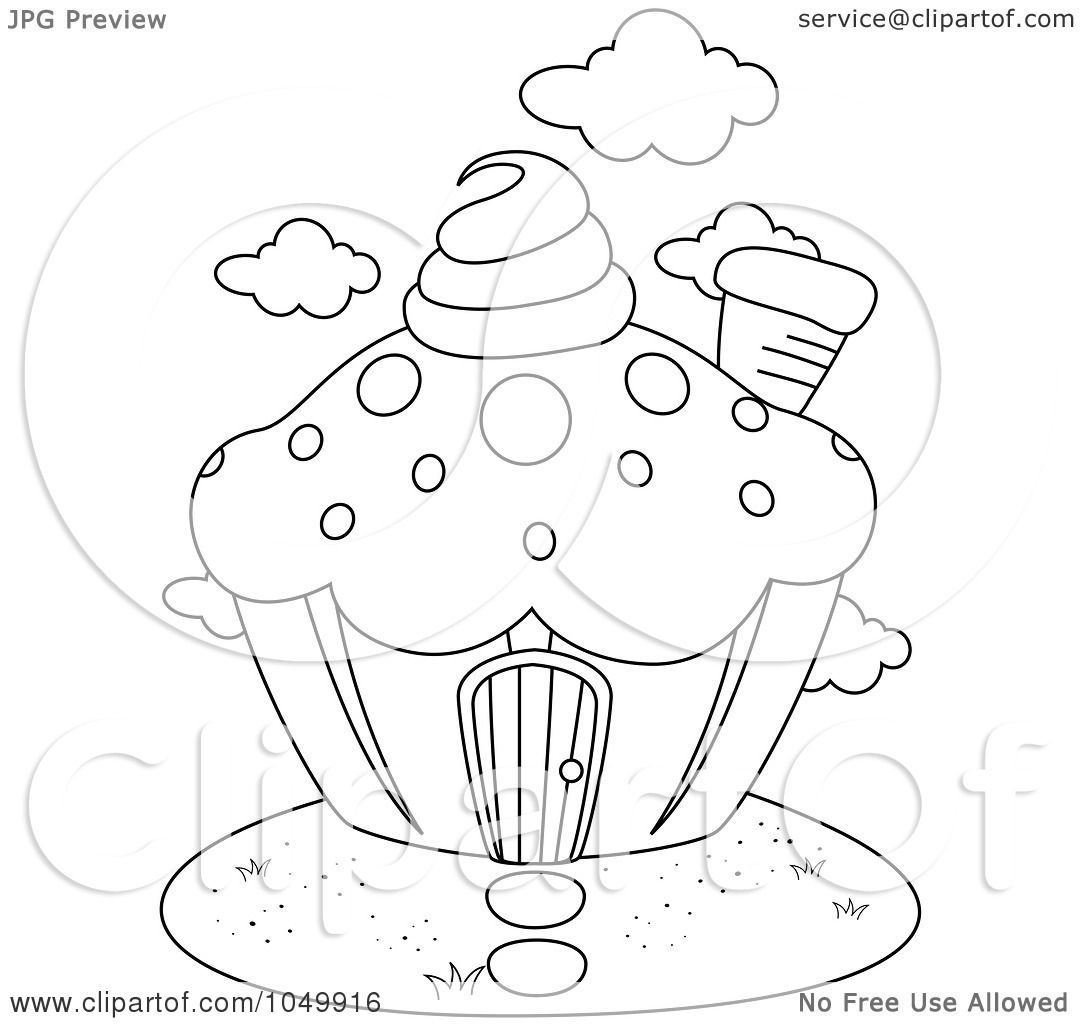 Royalty Free Rf Clip Art Illustration Of A Coloring Page Outline Of A Cupcake House By Bnp