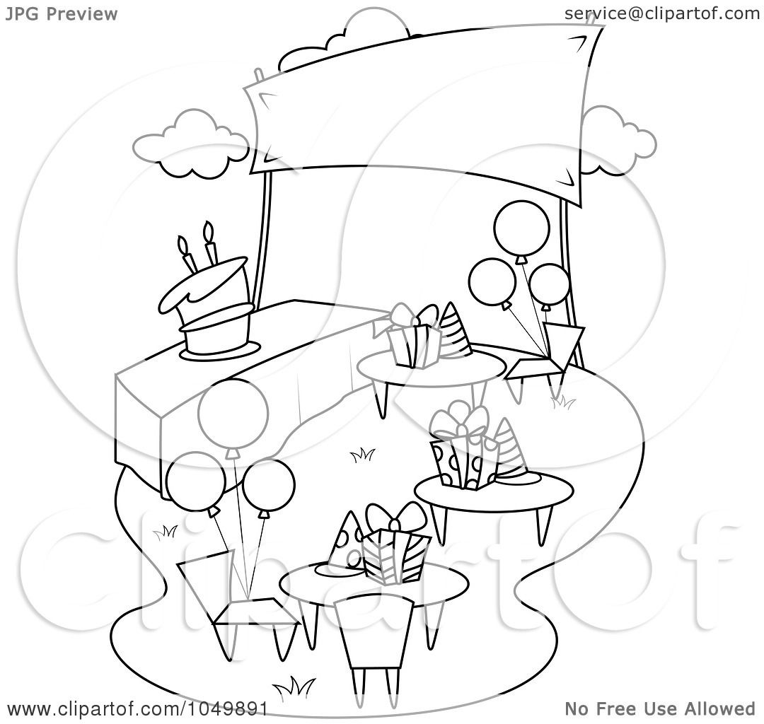 Royalty Free Rf Clip Art Illustration Of A Coloring Page Outline Of A Garden Birthday Party By