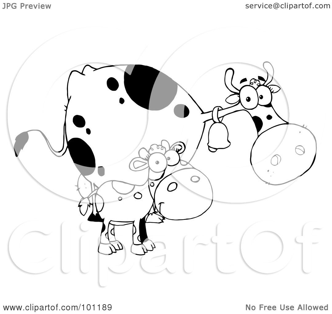 Royalty Free Rf Clipart Illustration Of A Black And White Calf By A Mom Dairy Cow By Hit Toon