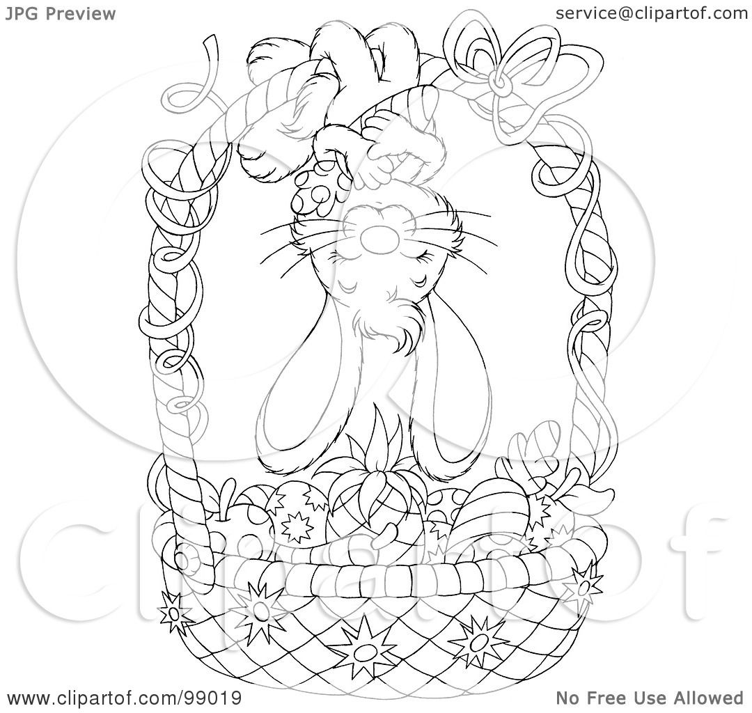 Royalty Free Rf Clipart Illustration Of A Black And White Coloring Page Outline Of A Bunny