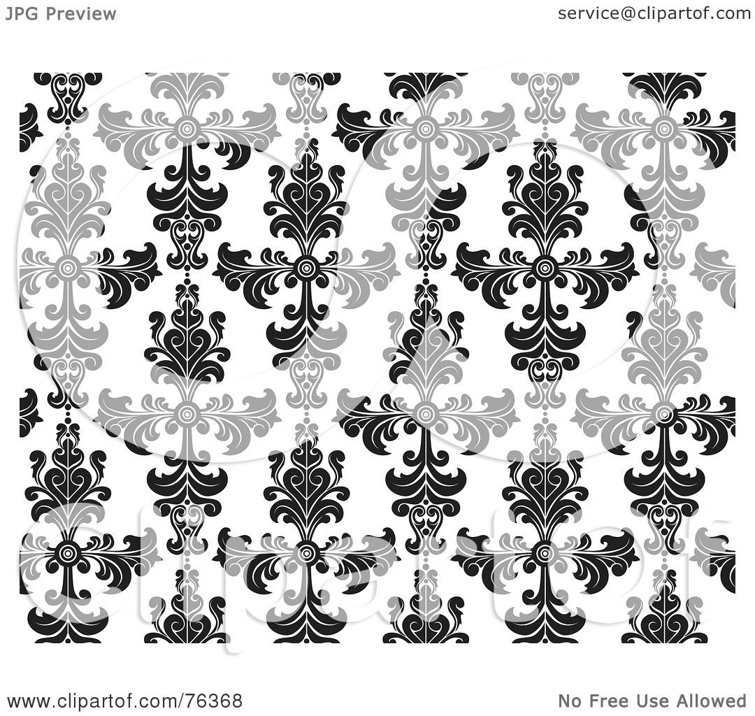 Royalty Free Rf Clipart Illustration Of A Black And White Damask Seamless Background Pattern