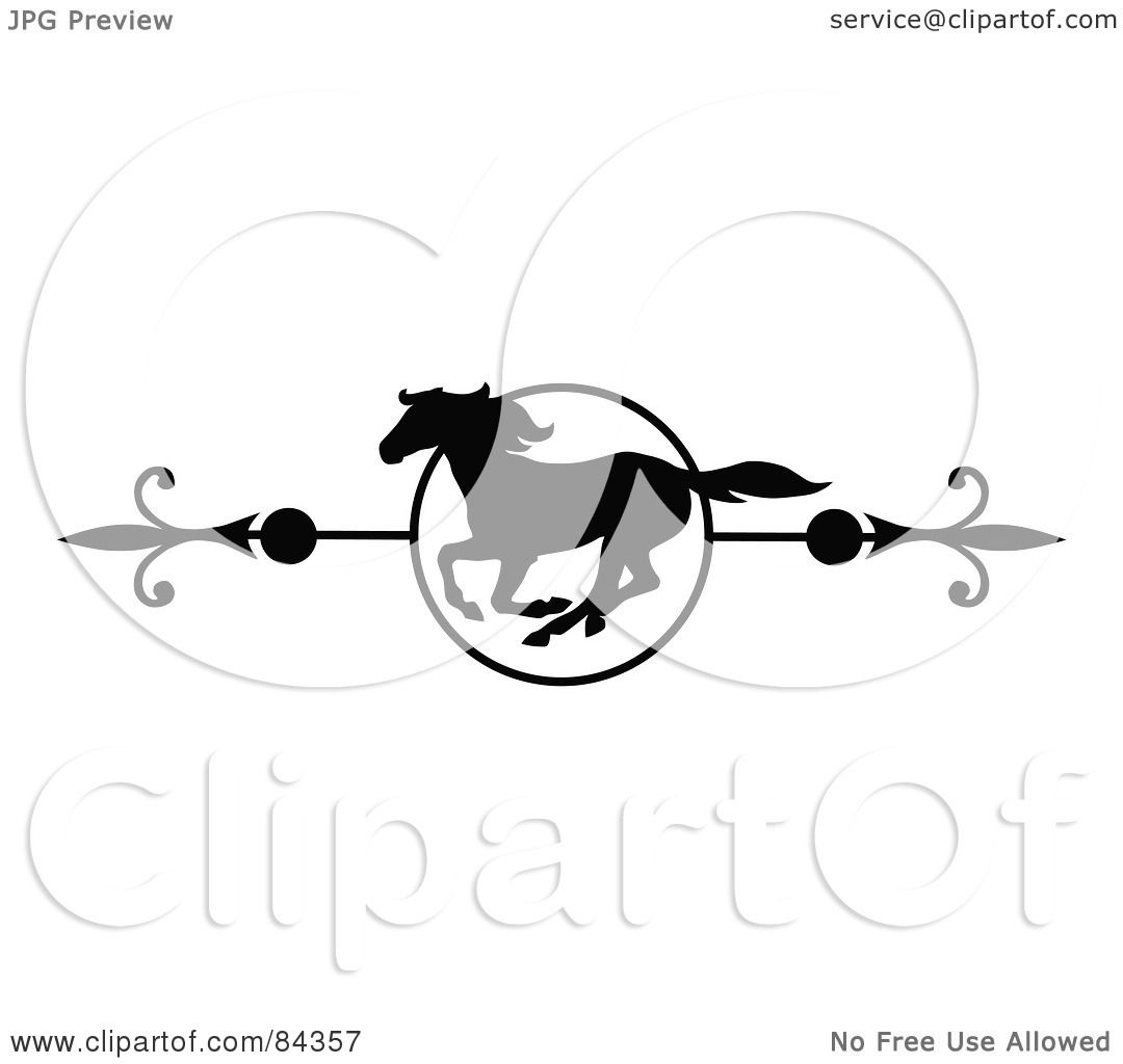 Royalty Free Rf Clipart Illustration Of A Black And White Galloping Horse Page Divider Or