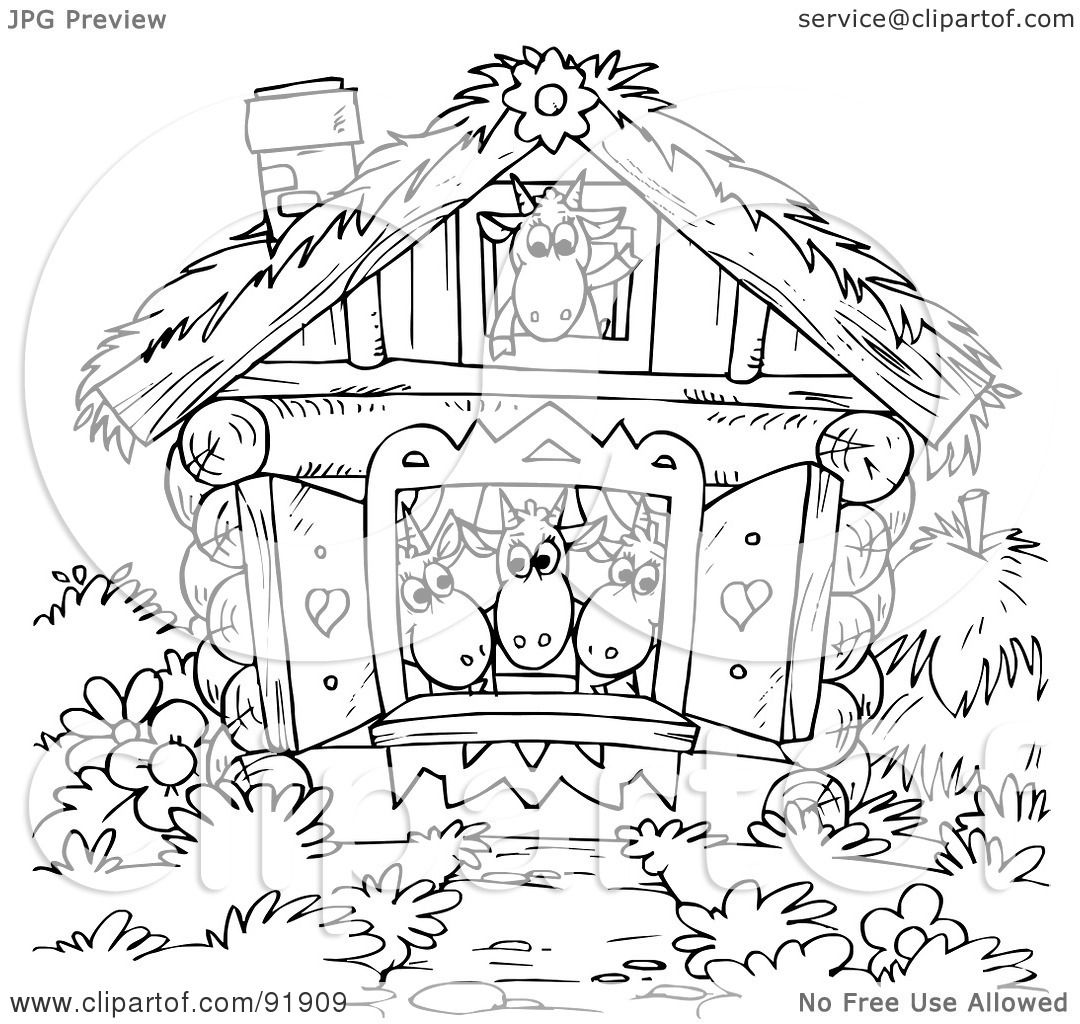 Royalty Free Rf Clipart Illustration Of A Black And White Goats In A House Coloring Page