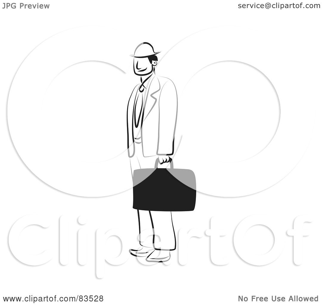Royalty Free Rf Clipart Illustration Of A Black And White Line Drawing Of A Businessman With A