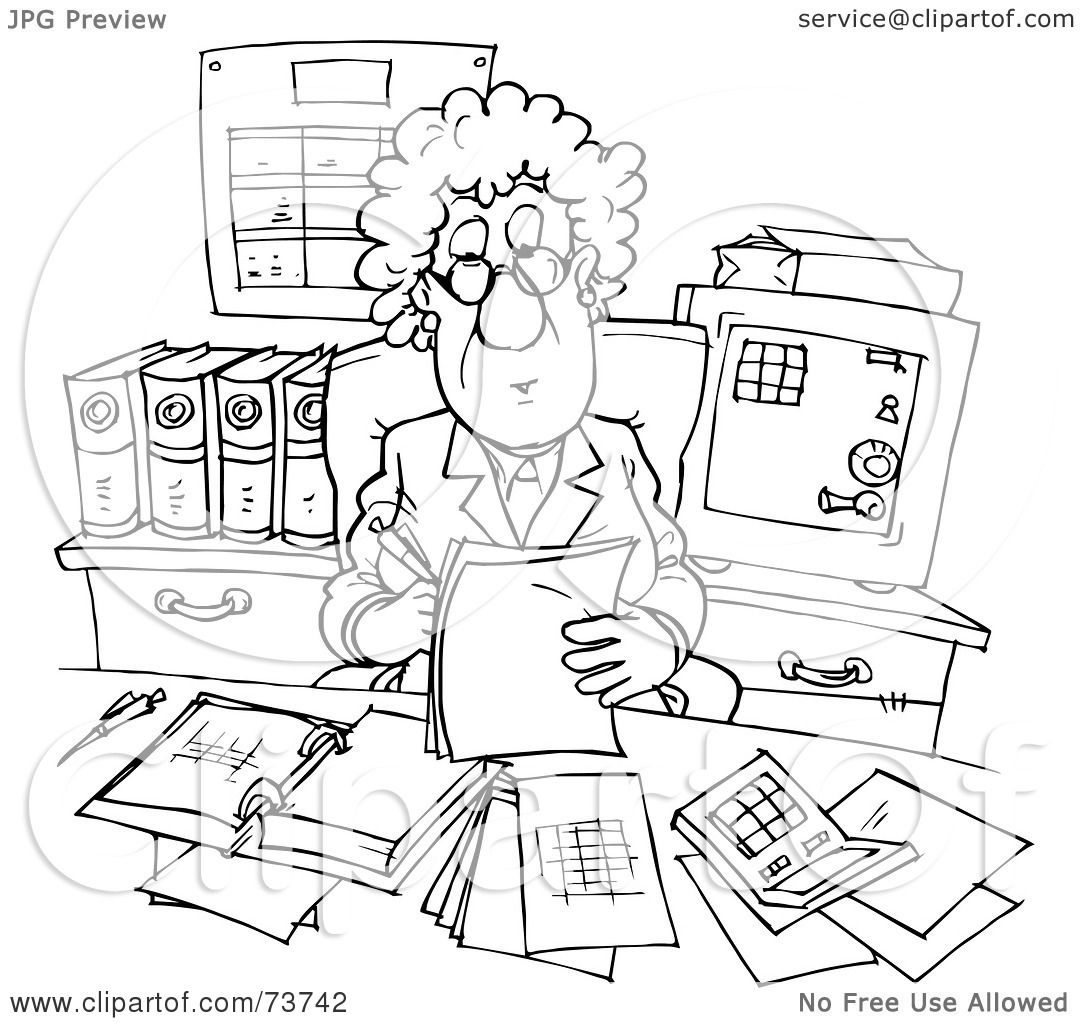 Royalty Free Rf Clipart Illustration Of A Black And White Outline Of A Working Businesswoman
