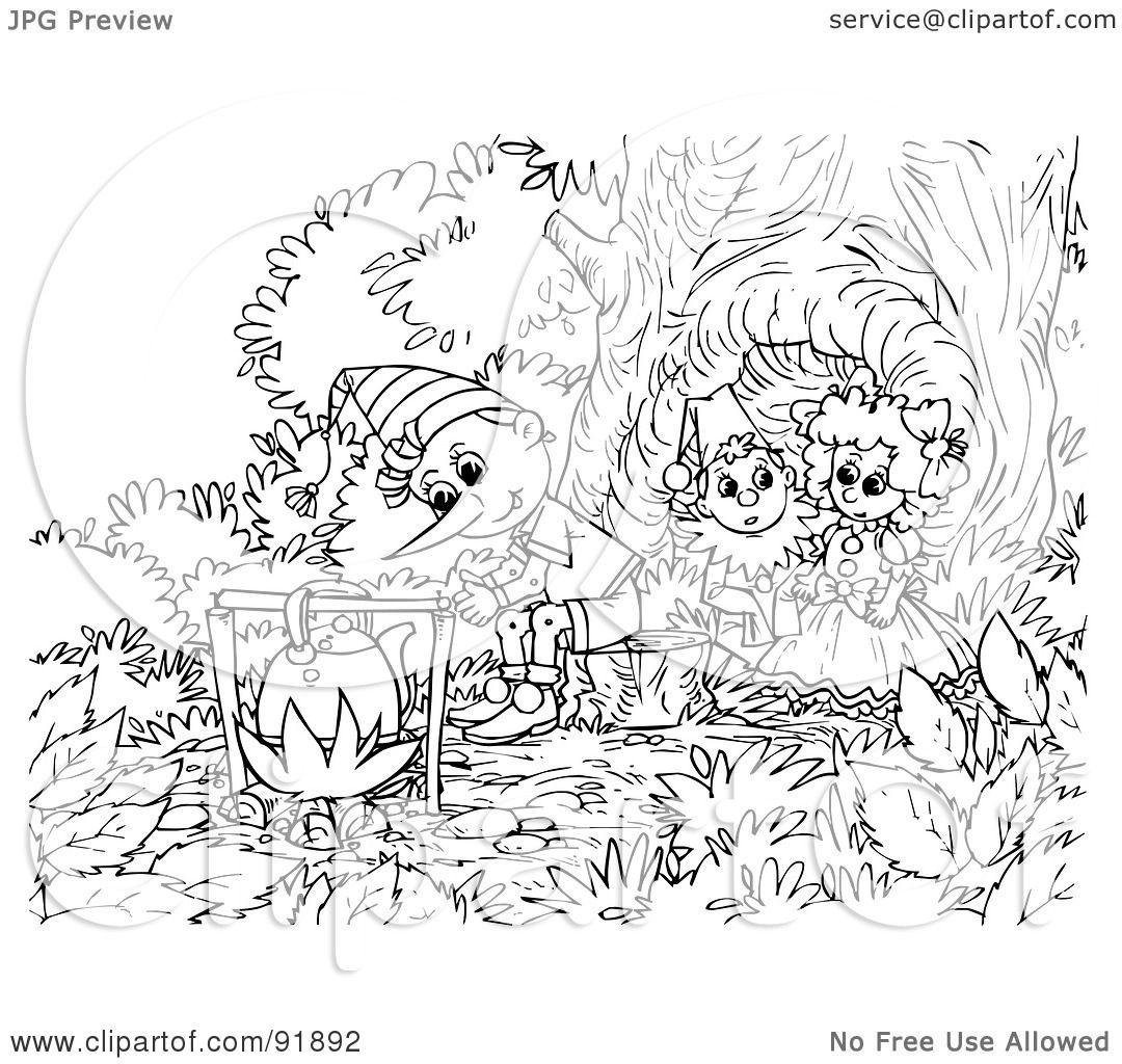 Royalty Free Rf Clipart Illustration Of A Black And White Pinocchio Coloring Page Outline