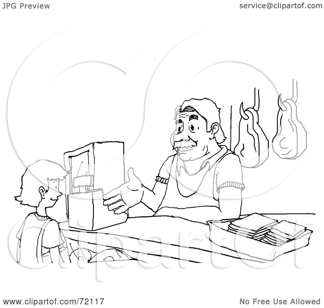 Royalty Free Rf Clipart Illustration Of A Black And White Sketch Of A Butcher Assisting A