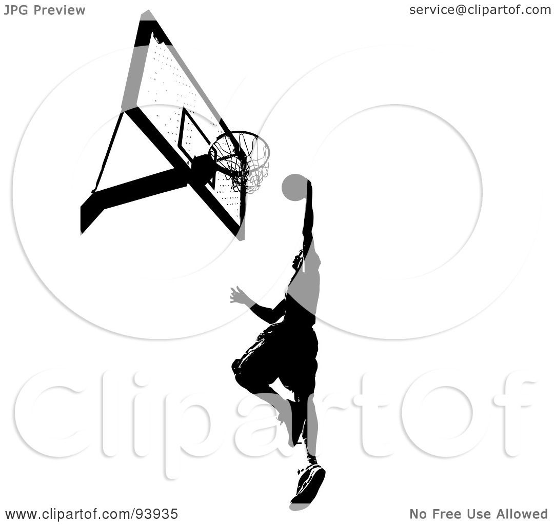 Royalty Free Rf Clipart Illustration Of A Black Silhouetted Man Leaping Towards A Basketball
