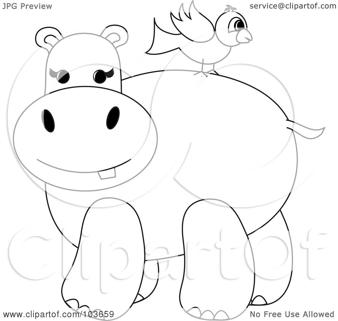 Royalty Free Rf Clipart Illustration Of A Coloring Page Outline Of A Bird On A Hippo S Back By