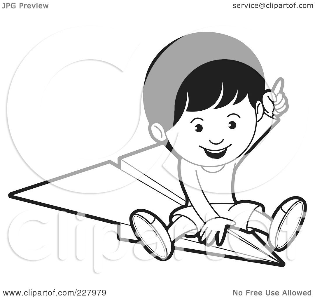 Royalty Free Rf Clipart Illustration Of A Coloring Page Outline Of A Boy Riding A Paper