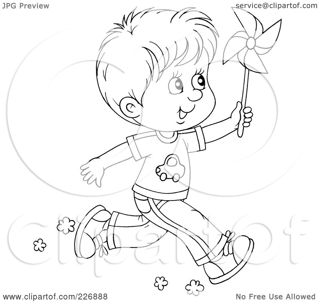 Royalty Free Rf Clipart Illustration Of A Coloring Page Outline Of A Boy Running With A