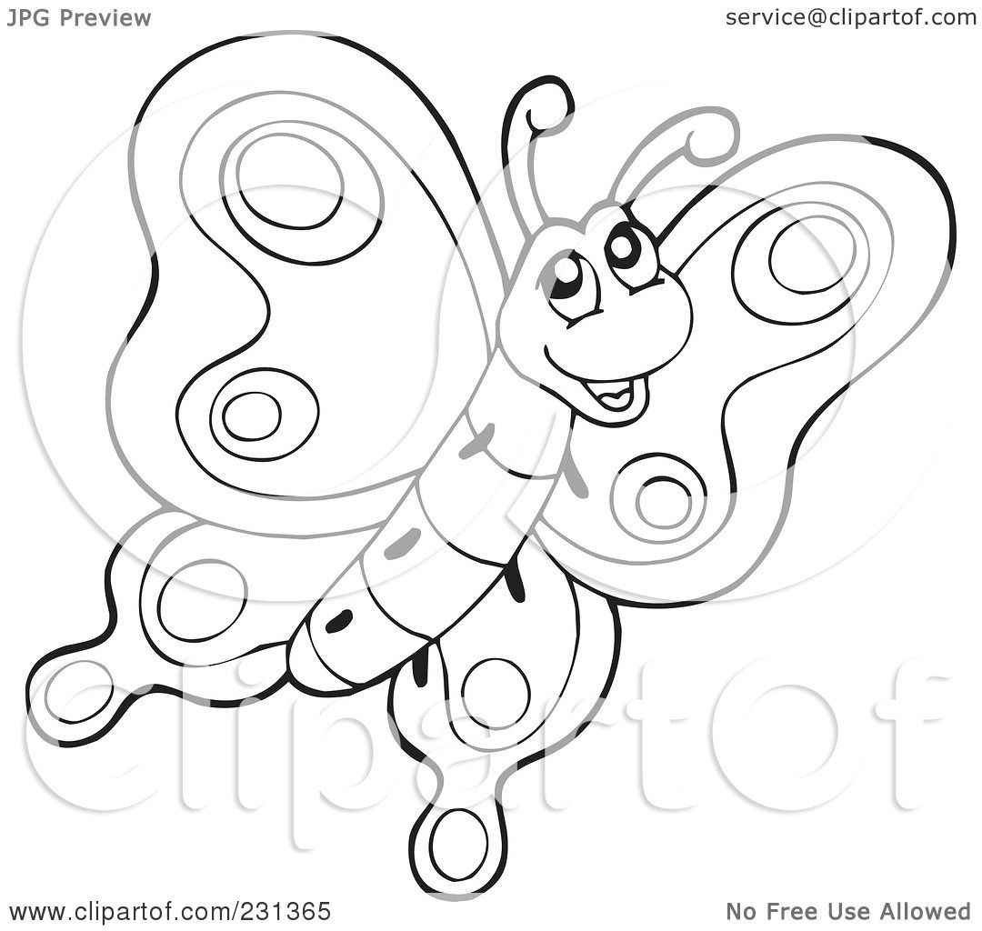 Royalty Free Rf Clipart Illustration Of A Coloring Page Outline Of A Butterfly By Visekart