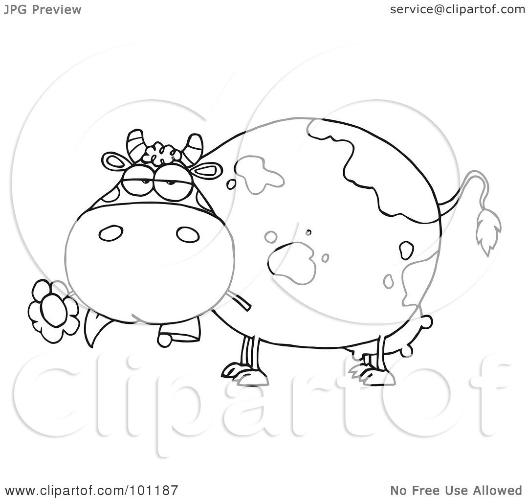Royalty Free Rf Clipart Illustration Of A Coloring Page Outline Of A Chubby Dairy Cow Snacking