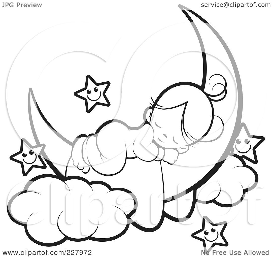 Royalty Free Rf Clipart Illustration Of A Coloring Page Outline Of A Cute Girl Sleeping On A