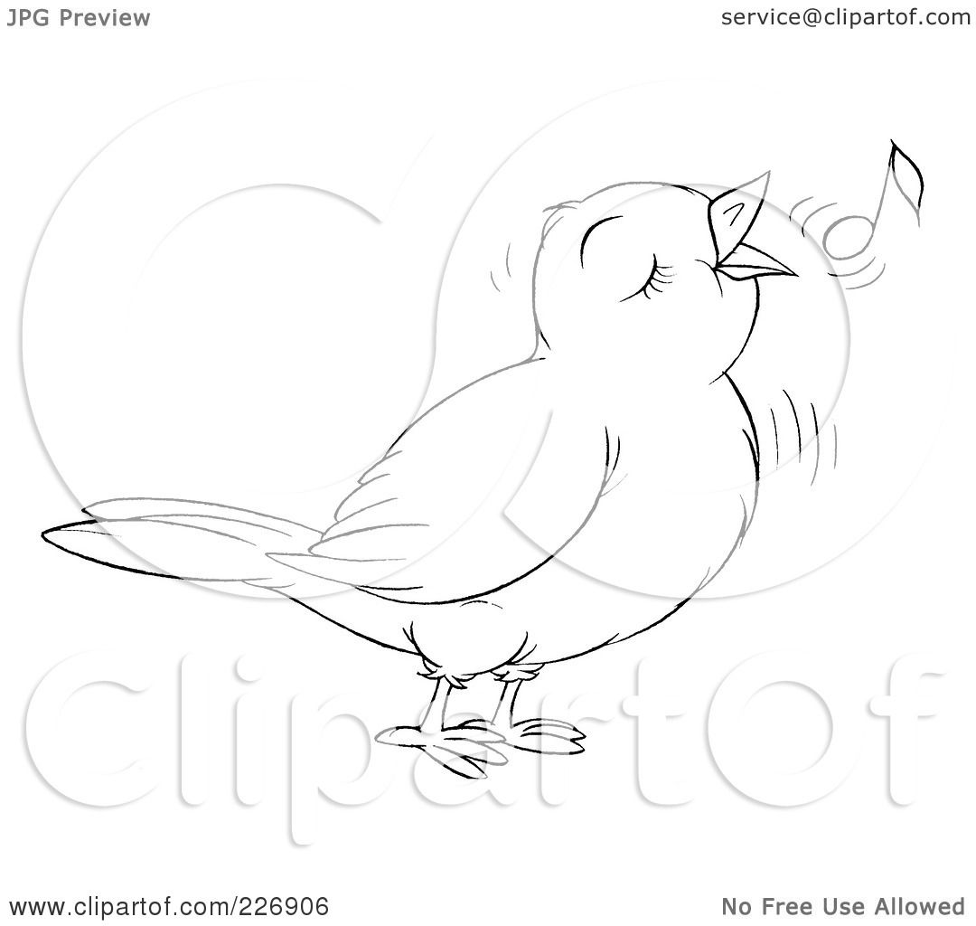 Royalty Free Rf Clipart Illustration Of A Coloring Page Outline Of A Cute Singing Bird By Alex