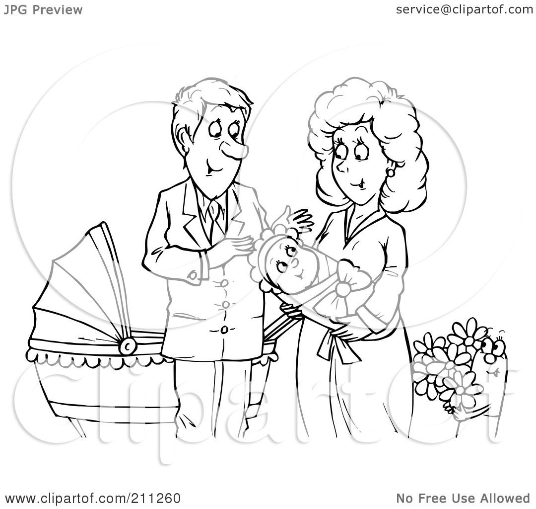 Royalty Free Rf Clipart Illustration Of A Coloring Page Outline Of A Happy Couple With A