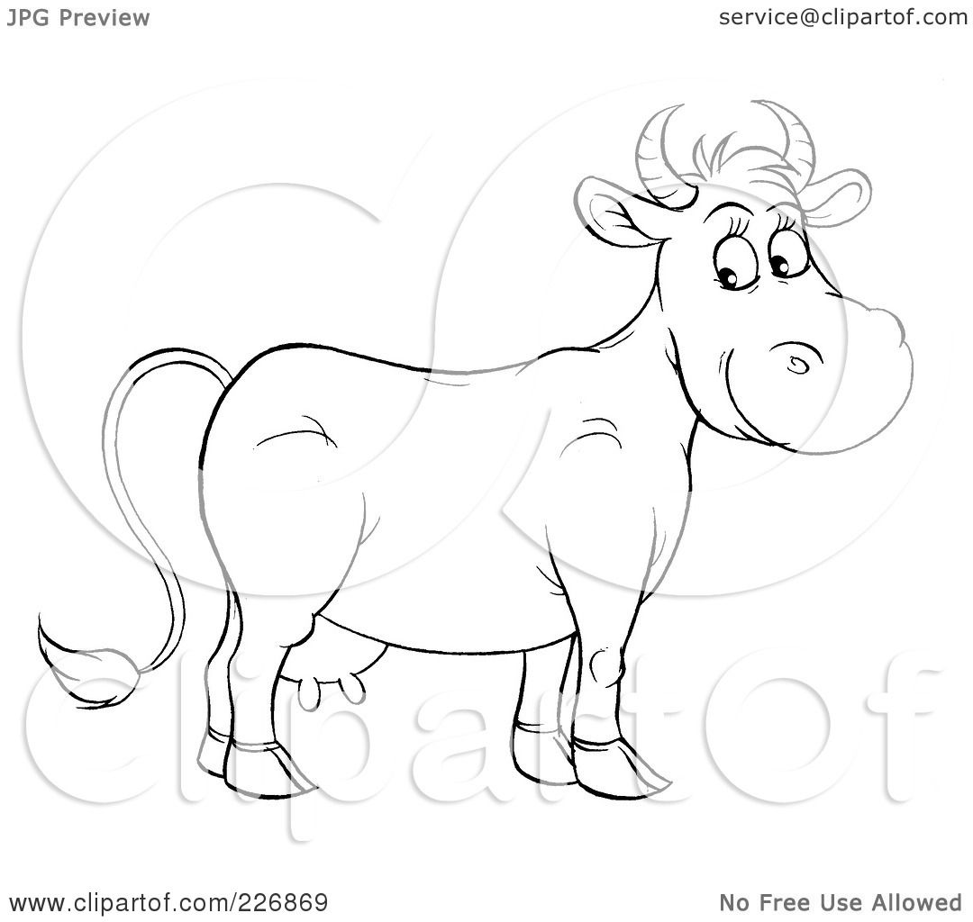 Royalty Free Rf Clipart Illustration Of A Coloring Page Outline Of A Happy Cow By Alex Bannykh