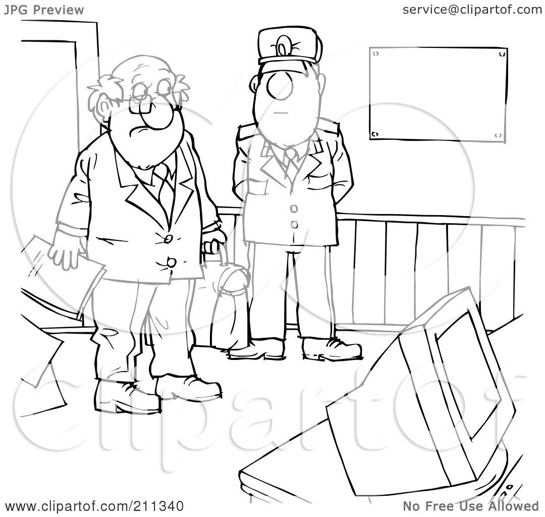 Royalty Free Rf Clipart Illustration Of A Coloring Page Outline Of A Man Entering A Secure