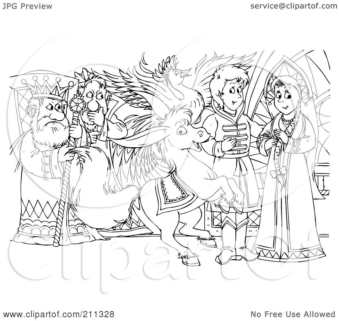 Royalty Free Rf Clipart Illustration Of A Coloring Page Outline Of A Mean King Watching A