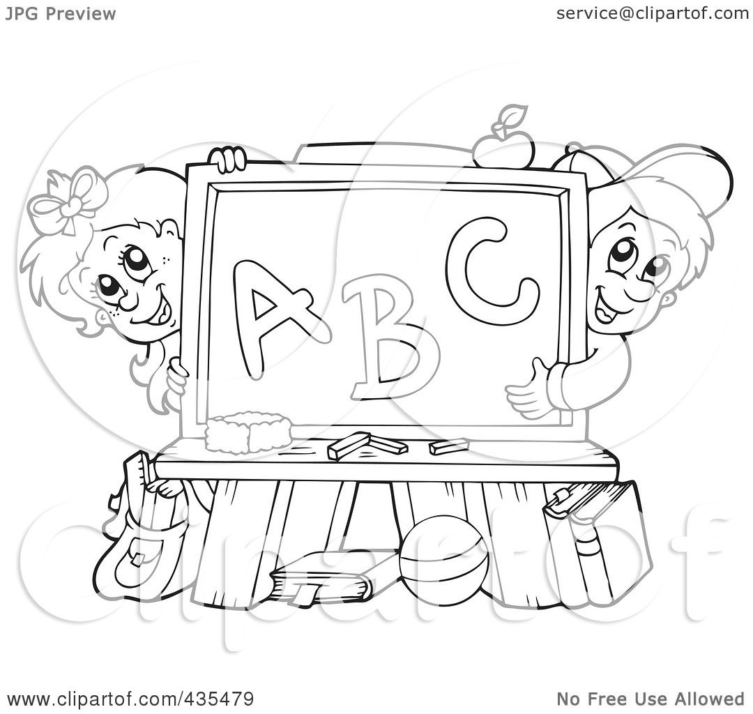 Royalty Free Rf Clipart Illustration Of A Coloring Page Outline Of A School Boy And Girl With